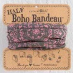 Natural Life Half Boho Headband Bandeau Pink/Brown
